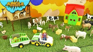 Farmer feeds HUNGRY FARM ANIMALS | Learn ranch stable cow horse schleich barn