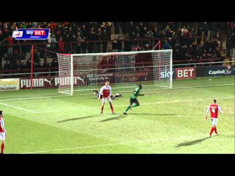 George Evans scores for Scunthorpe against Fleetwood