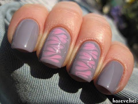 Valentines hearts needle manicure - Walentynkowe serduszka robione igłą - Basevehei