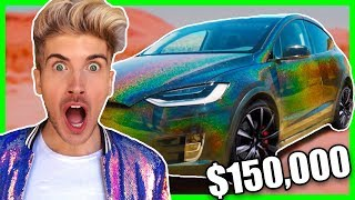 MY NEW $150,000 BLACK HOLOGRAPHIC TESLA + HUGE ANNOUNCEMENT
