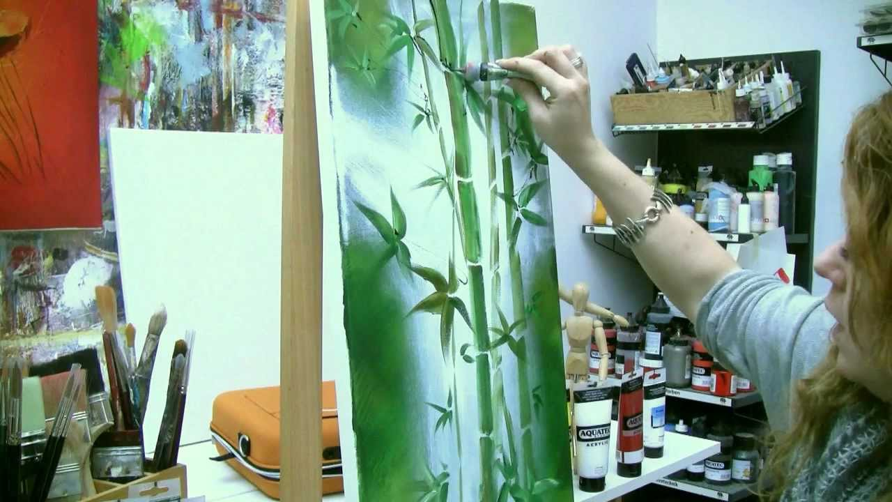 Acrylmalen Malen lernen, Anleitung zum Bambus Acrylic painting