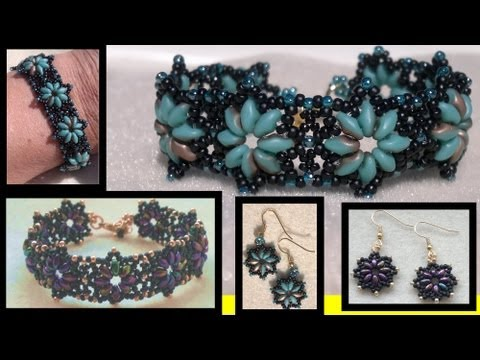 Beading4perfectionists : Superduo with miyuki seedbeads bracelet beading tutorial