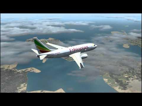 FS2004 Ethiopian's flight from Kinshasa to Dar es Salaam. Landing cabin view