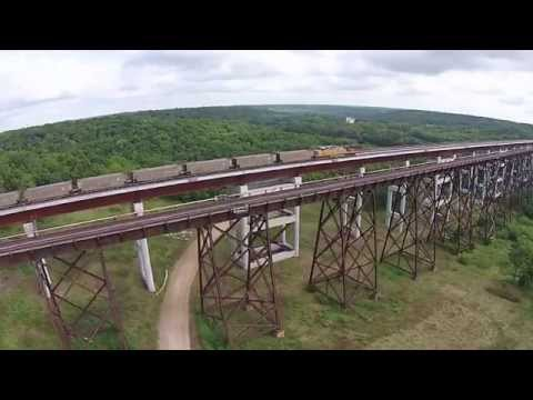 Drone footage of Kate Shelley Bridge with train
