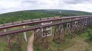 [Kate Shelley Bridge with train] Video