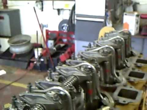 3406 cat diesel engine dissasemble part 5 (looking at head w/ valves)
