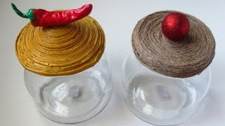 DIY Ikea Candle Jars To Kitchen Jars - How To Make Candle Jar Lids Using Paper & Twine