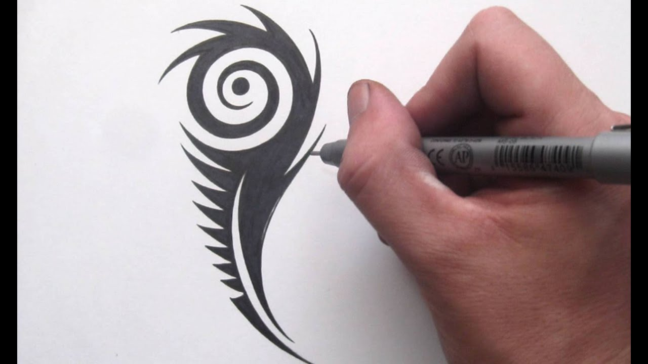How To Draw A Peacock Feather Tribal Tattoo Design Style