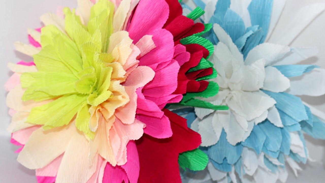 Как сделать большие цветы из гофробумаги своими руками для украшения зала