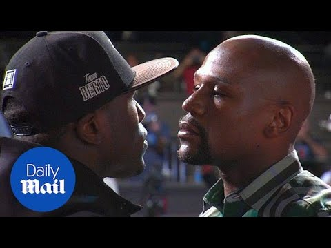 Floyd Mayweather Jr and Andre Berto in intense stare-down - Daily Mail