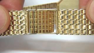 14KT GOLD MENS GENEVA WATCH MIRROR GOLD DIAL EXCELLENT VINTAGE