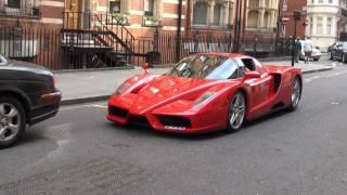 Red Ferrari Enzo in Knightsbridge, London - Driving, Engine Sounds
