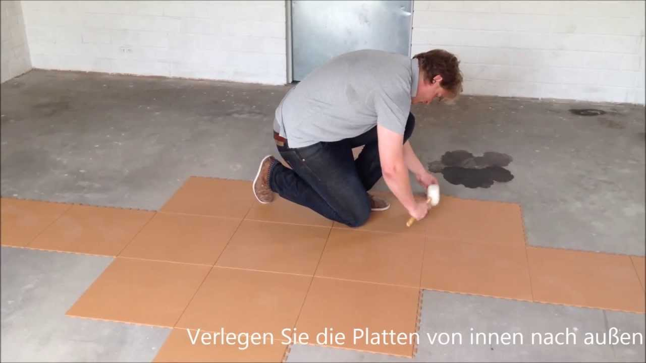 ideas for home gym in garage - Video Flexi Tile PVC Bodenbelag als Garagenboden