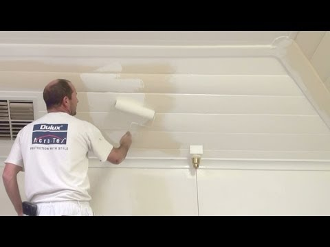 how to paint wood paneling how to paint a wood or timber panel ceiling. Black Bedroom Furniture Sets. Home Design Ideas