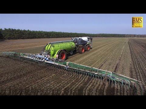 Gülle fahren 2018 - Claas Xerion 4000 Saddle Trac SGT Fass mit Schleppschuh / Lohnunternehmen Hacke