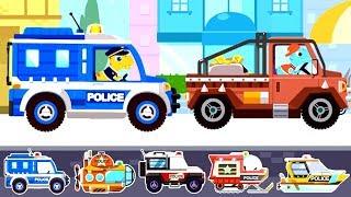 5 Loại Xe Cảnh Sát Đuổi Bắt Băng Cướp Khủng Long - Police Car | TopKidsGames (TKG) 303