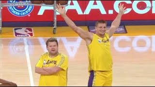 Rob Gronkowski and James Corden Joined The Laker Girls For Halftime Show