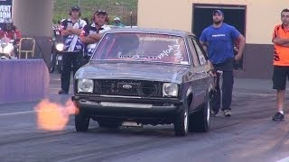 FASTEST 28x9 13B IN THE WORLD MAZSPORT ROTARY TURBO ESCORT 7.64 @ 181 MPH SYDNEY DRAGWAY 4.12.2013
