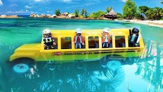 Cứu hộ xe buýt FAILS bể bơi   Đồ chơi ô tô cho trẻ em   tai nạn AMBULANCE! Đồ