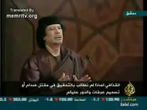 "Gaddafi speech: ""America hanged Saddam, and we could be next!"" (with English)"