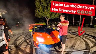 MY REBUILT 1000HP TURBO LAMBORGHINI DESTROYS TANNER FOX DRIVEWAY!