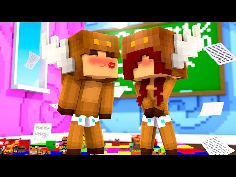 Minecraft Daycare - KISS ME CHALLENGE! (TRUTH OR DARE) w/ MooseCraft (Minecraft Kids Roleplay)