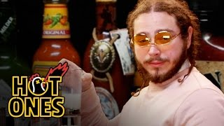 Post Malone Sauces on Everyone While Eating Spicy Wings | Hot Ones by : First We Feast