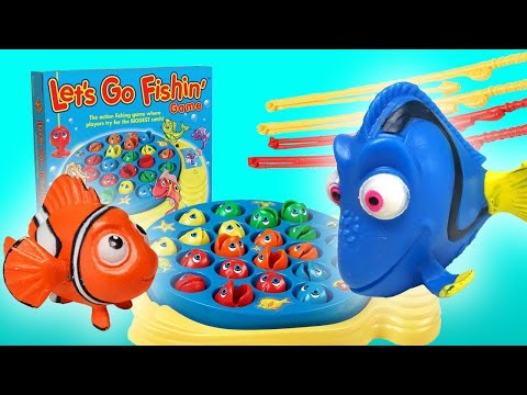 Let's Go Fishin' Game Unboxing with Finding Nemo Toys! Featuring Dory, Nemo, and Learn Colors!