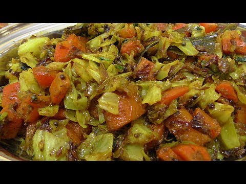 HEALTHY CABBAGE CARROT FRY/how to make cabbage & carrot fry without onions.