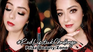 Glam Makeup Look with Red Lipstick & Red Gown | #RedLipstickChallenge | PRIAZ BEAUTY ZONE