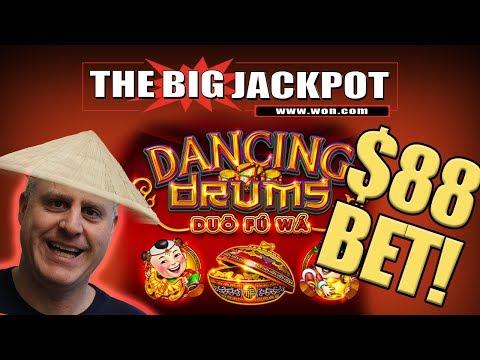 $88 DOLLAR BET! ✦  BIG JACKPOT on Dancing Drums! 🥁HUGE WIN$