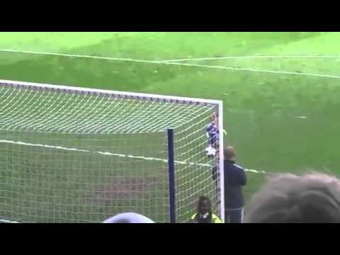 The 2 year old son of Chelsea FCs goalie scores a goal to the cheers of a stadium