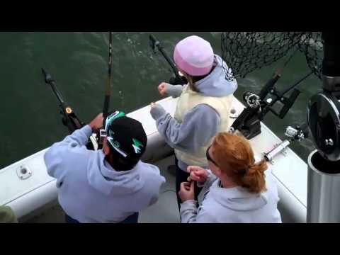 Catching Big Fish on Lake Michigan 2010. Visit Sheboygan Wisconsin for Salmon Fishing.