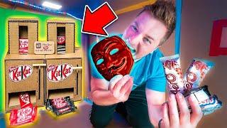 GAME MASTER CHALLENGE DIY Cardboard CANDY Dispenser! BOX FORT CANDY SHOP