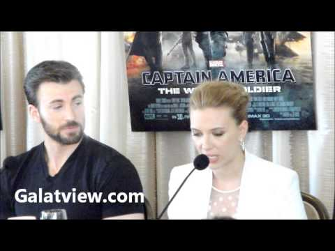Chris Evans, Scarlett Johansson,Samuel L Jackson,in press conference in Hollywood