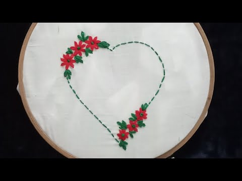 hand embroidery hart design | how to hart embroidery stitching design | hand embroidery