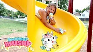 Squishy Scavenger Hunt at the Park Playground For Kids | Smooshy Mushy SERIES 3 ICE CREAM CONES