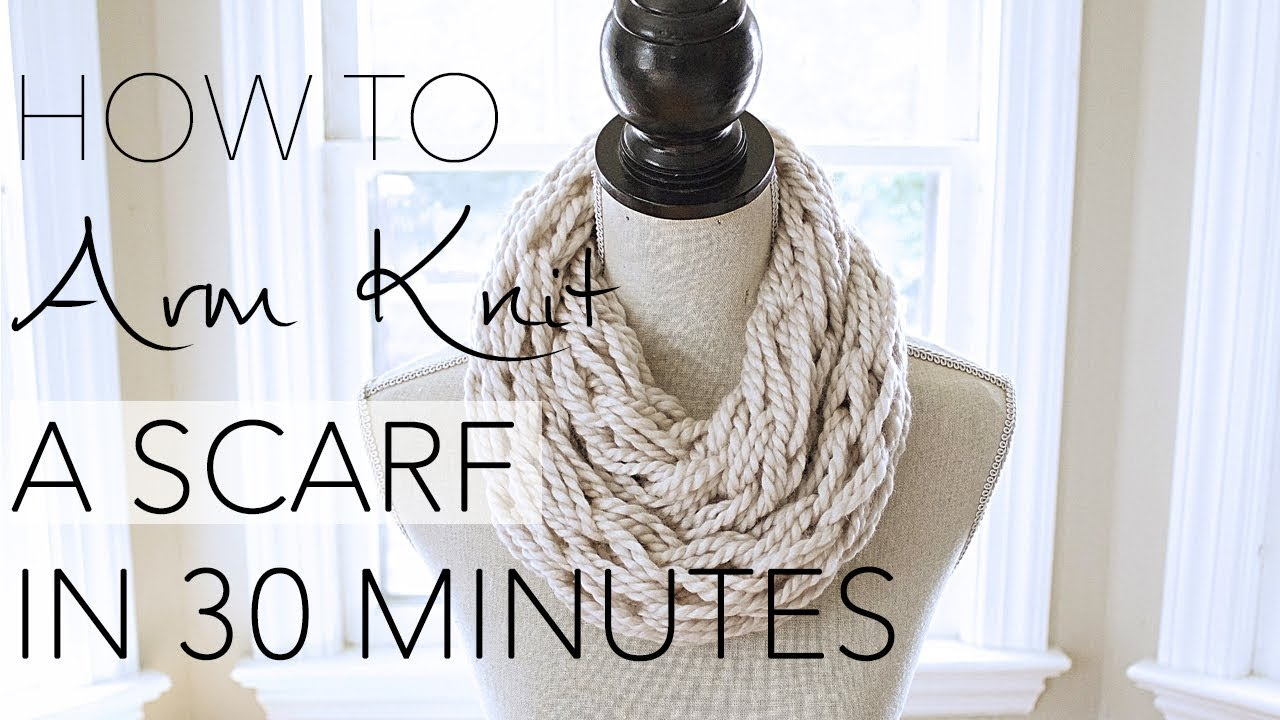 Hand Knitting With Arms : Diy arm knitting minute scarf with simply maggie