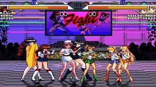 Pretty Fighter X vs Sailor Moon (AK1 BLUE VS RED) 4v4 MUGEN Battle #2 Series!!!