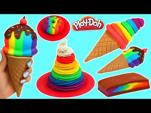 Play Doh Rainbow Swirl, Ice Cream Sandwich, Donut amp More Desserts!