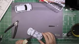 Workong on a Mini Cooper model