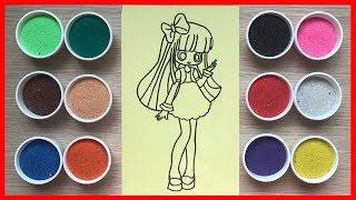 Đồ chơi trẻ em TÔ MÀU TRANH CÁT công chúa đỏng đảnh | Learn colors Sand Painting Toys (Chim Xinh)