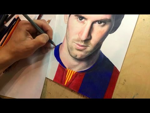 Drawing Lionel Messi. Time-lapse video (Портрет Лионеля Месси цветными карандашами)