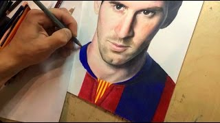Drawing Lionel Messi. Time-lapse video (Портрет Лионеля Месси цветными карандашами)