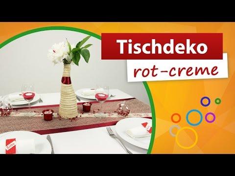 ♥ Tischdeko Rot Creme ♥ Tischdekoration | Trendmarkt24