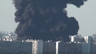 A terrible fire  Marino Brateevo Moscow River  Moscow, Russia
