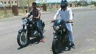 Pulsar 180 vs Bullet 350 drag race ... epic race.(royal enfield classic 350)