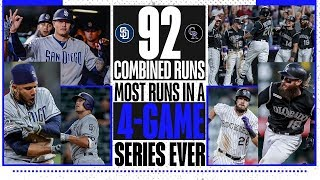 Padres, Rockies combine for most runs in a 4-game series ever!