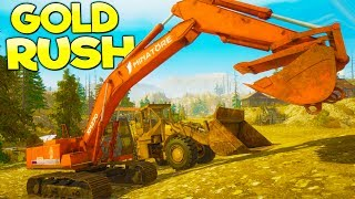 MAKING MILLIONS WITH HEAVY MACHINERY! Gold Digging Simulator - Gold Rush Pre-Alpha Gameplay