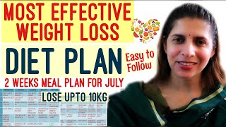 2 Weeks Diet Plan for Weight Loss| Easiest yet Most Effective Meal Plan | July Challenge | 1200 Cal